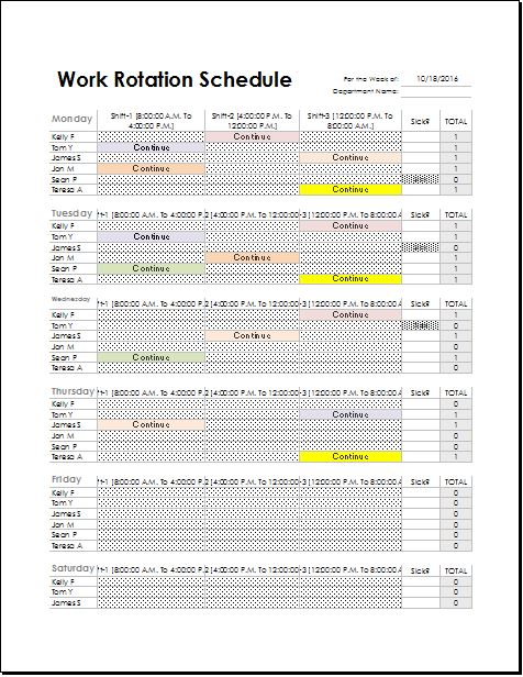 Employee Work rotation schedule Template for EXCEL | Excel Templates