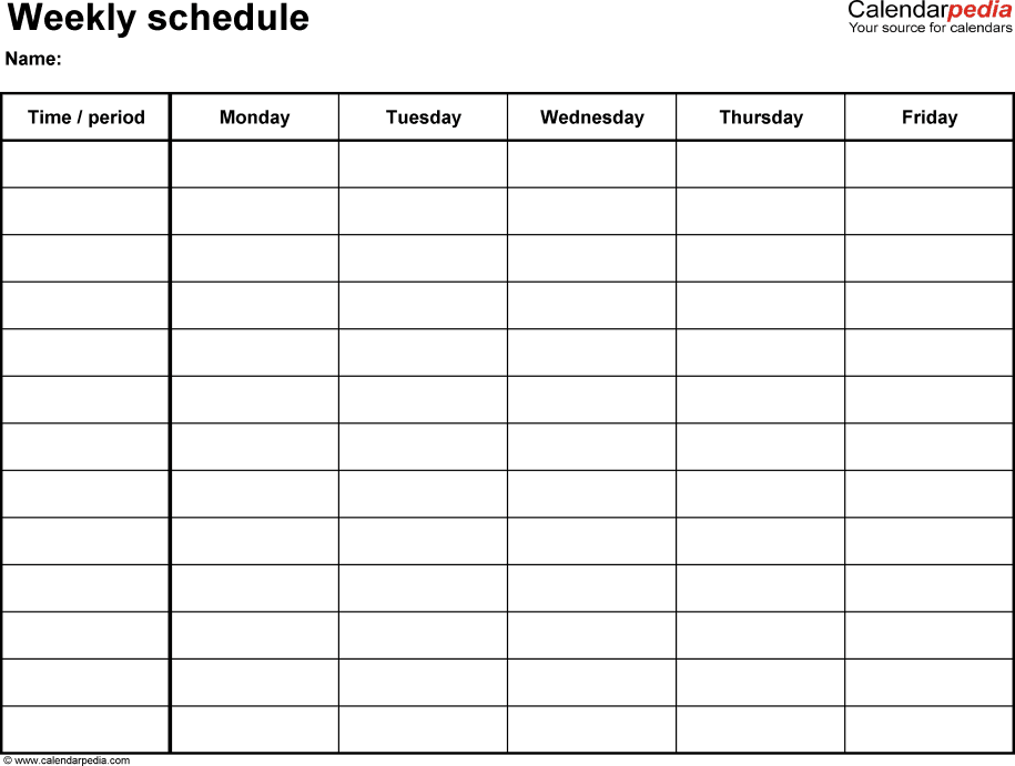 Schedule Sheet Template