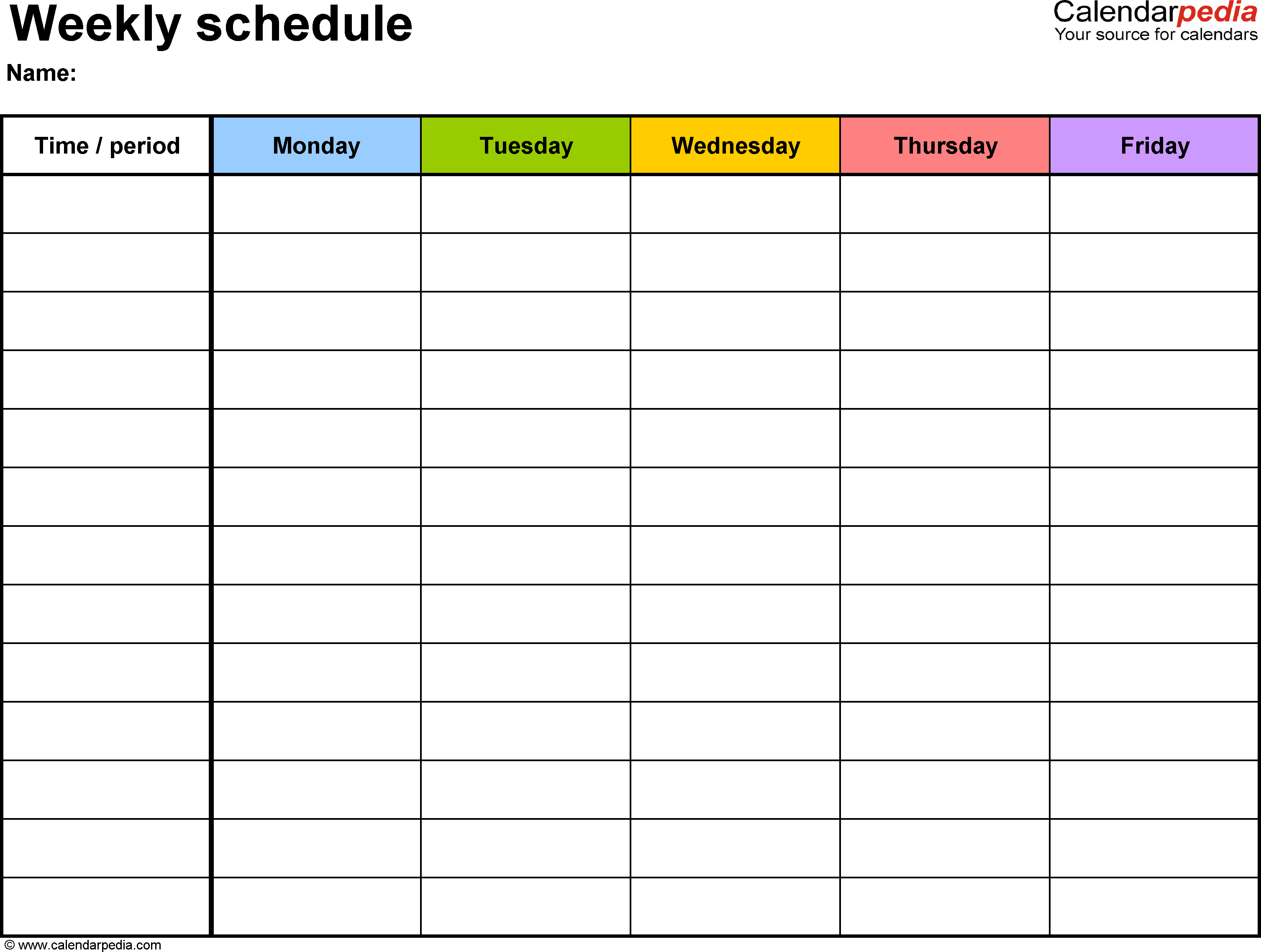 Download a free Weekly Class Schedule template for Excel