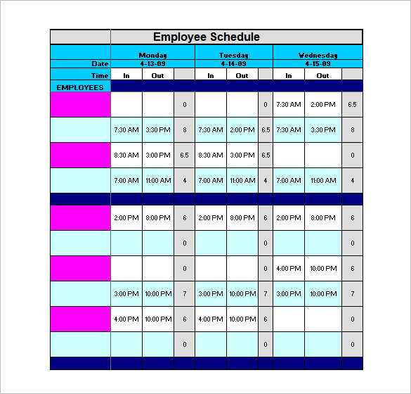 9+ staff schedule template | Marital Settlements Information