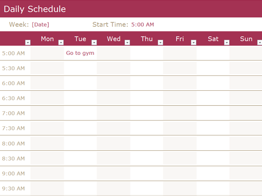 Daily Schedule Office Templates