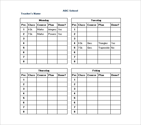 Teacher Schedule Templates – 12+ Free Word, Excel, PDF Format