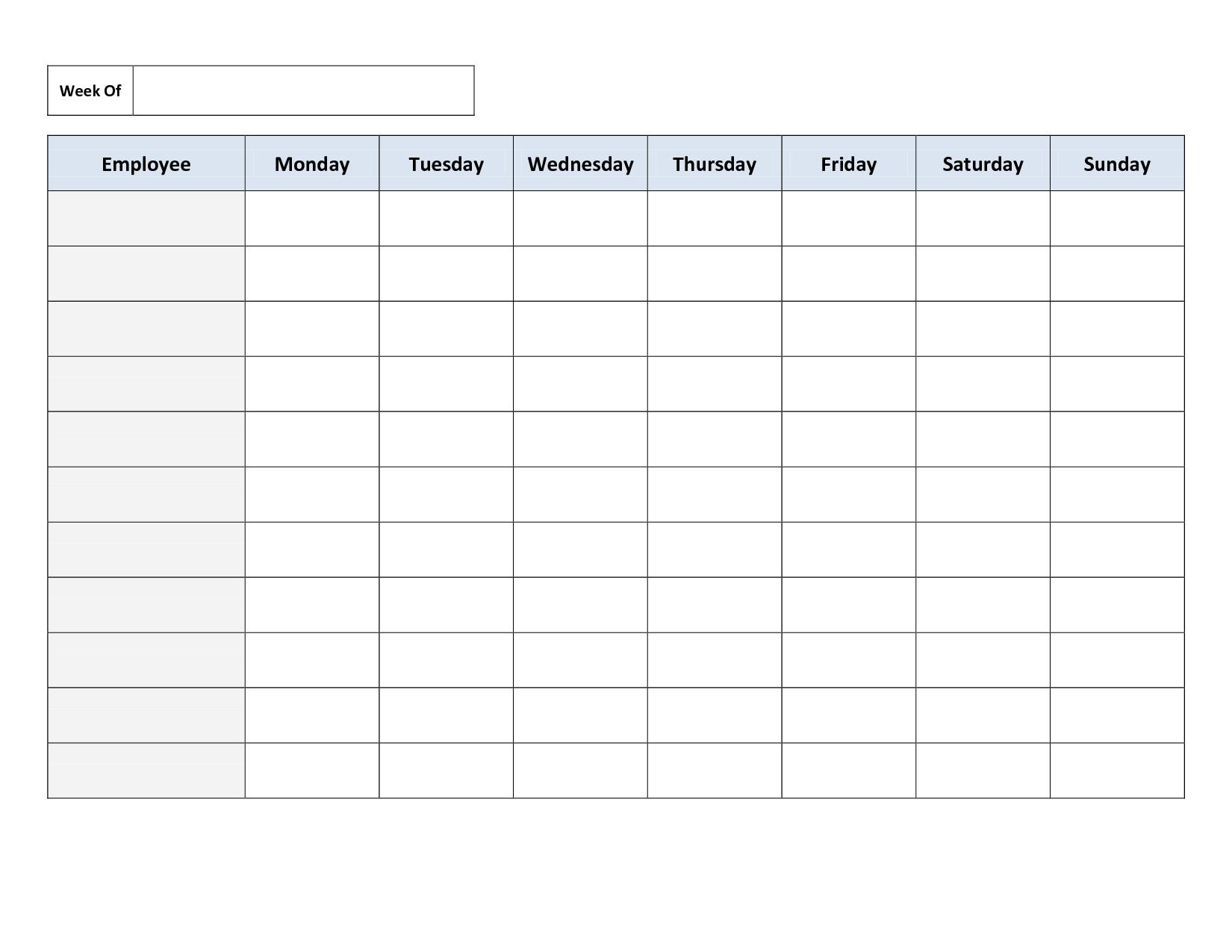 Free Printable Work Schedules | Weekly Employee Work Schedule