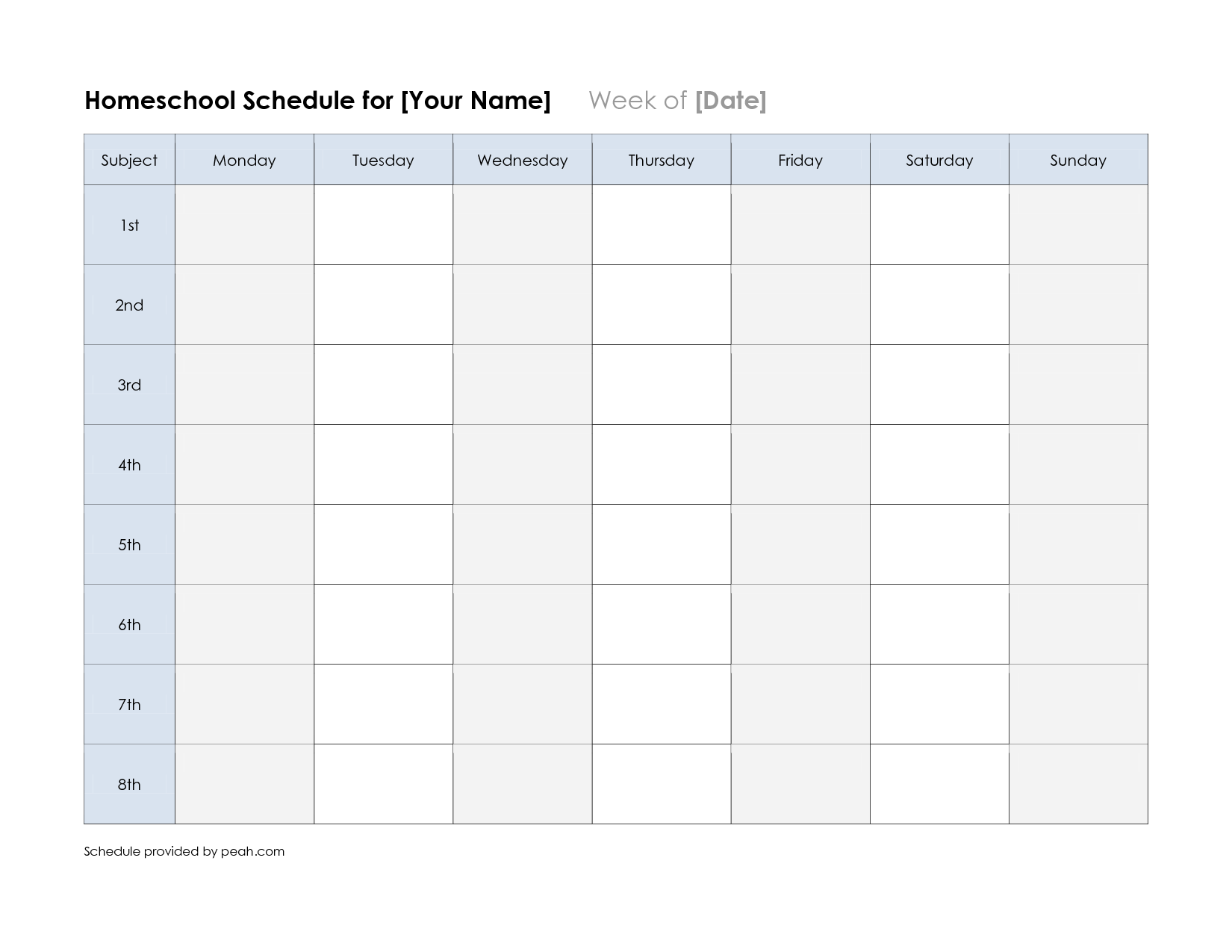 free printable class schedule template | printable weekly nfl