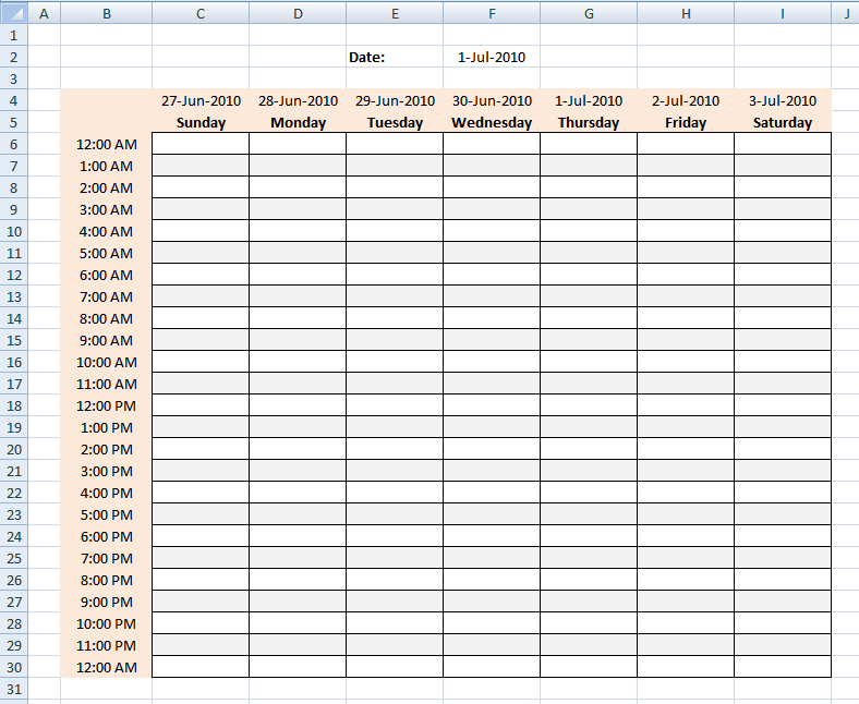 Hourly Schedule Template Free