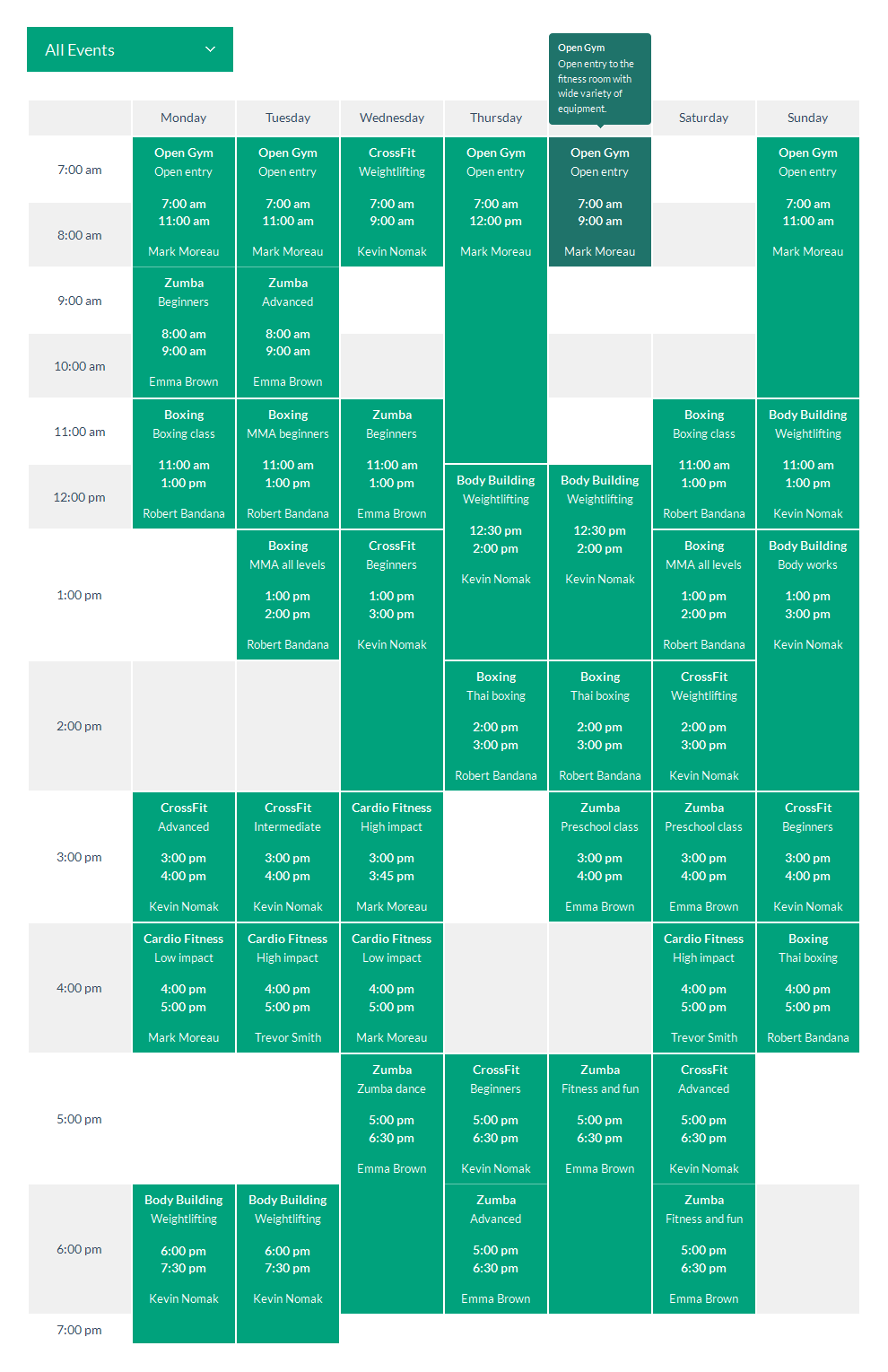 Schedule Template Responsive Jquery