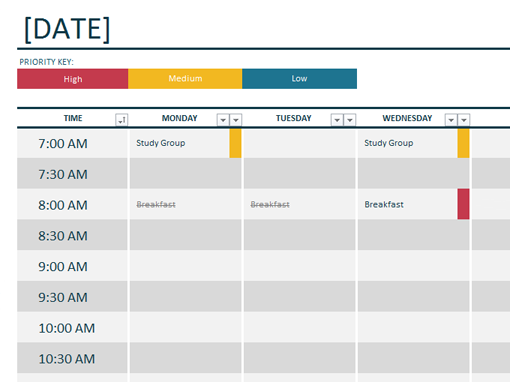student planner templates   Daily School Schedule Template