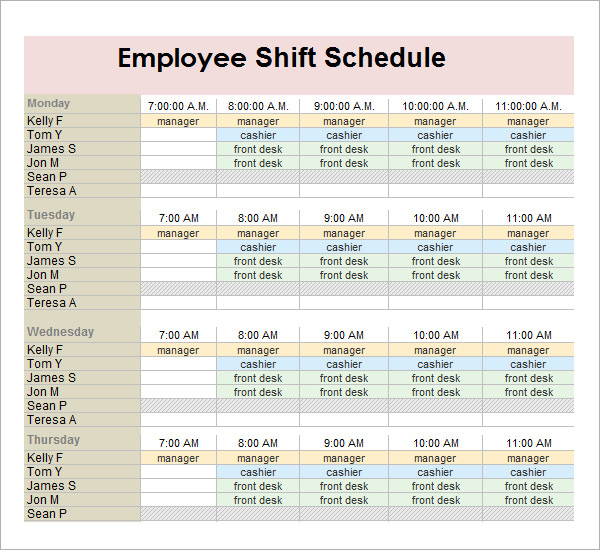 schedule templates for employees printable schedule template