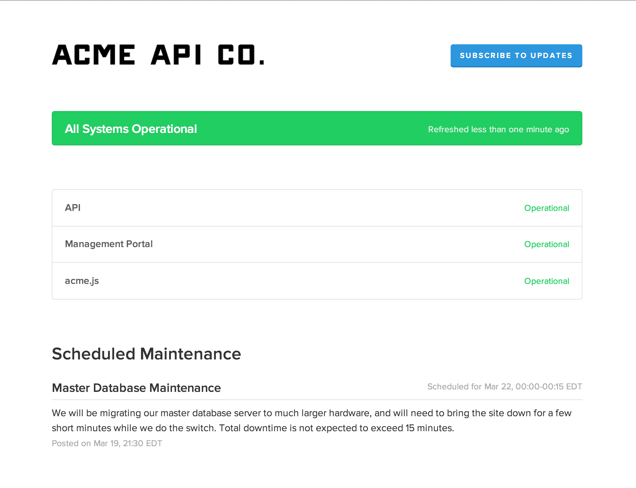 Scheduled Maintenance | StatusPage.io