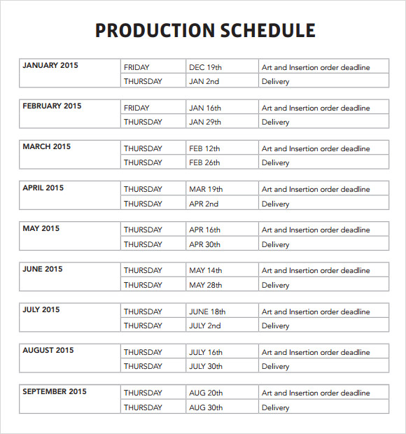 Sample Production Schedule Template 6+ Documents in PDF