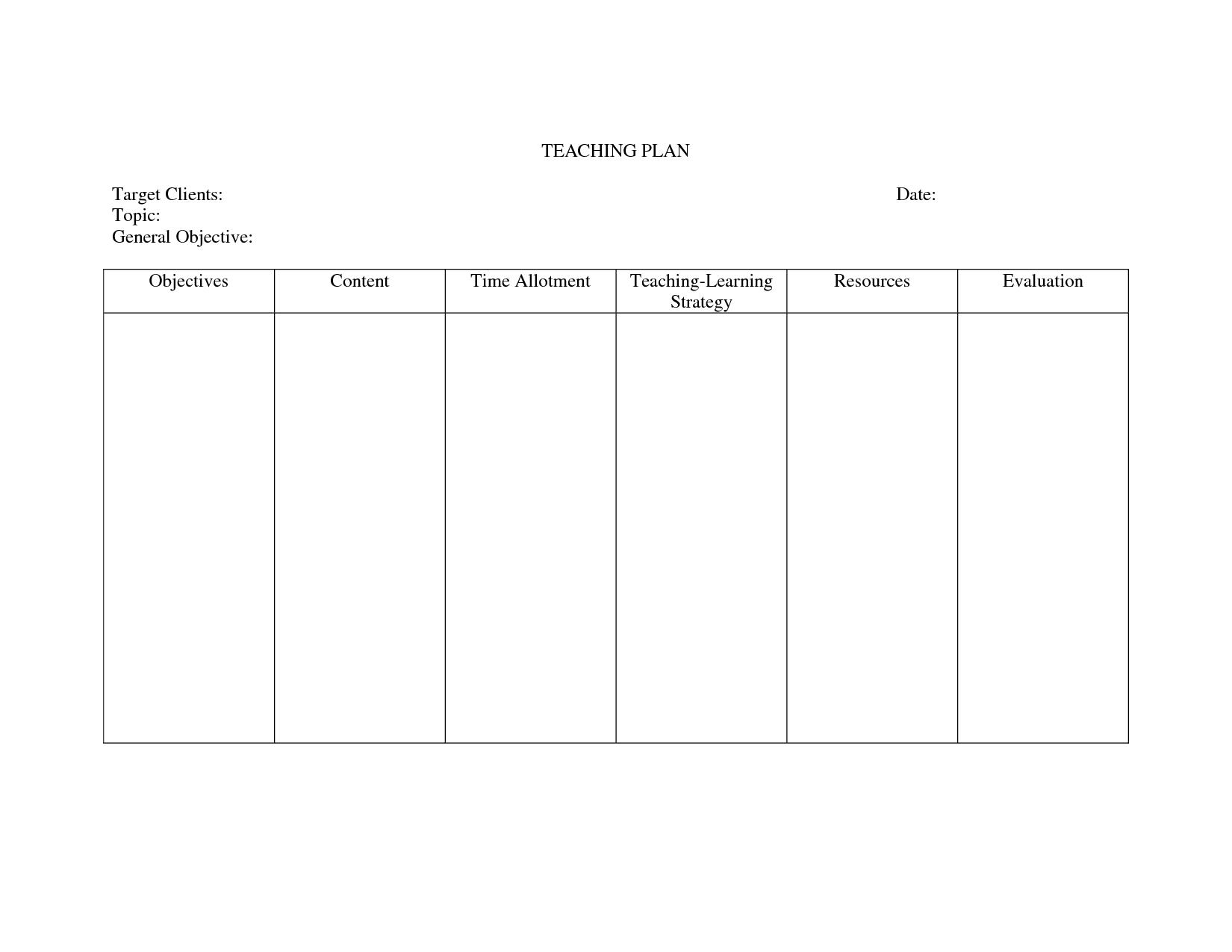 teaching plan template for nurses  u2013 printable schedule template