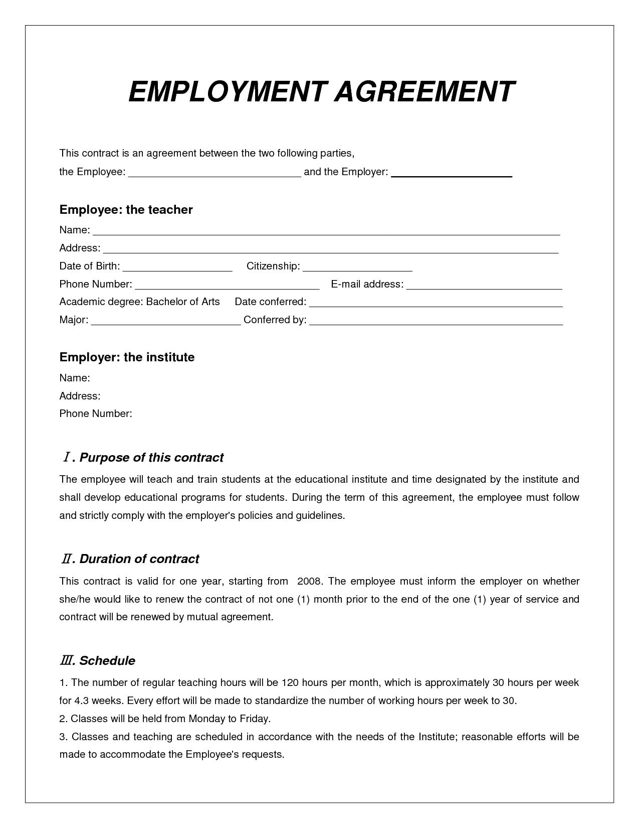 Labor Contract Template Invitation Templates employment