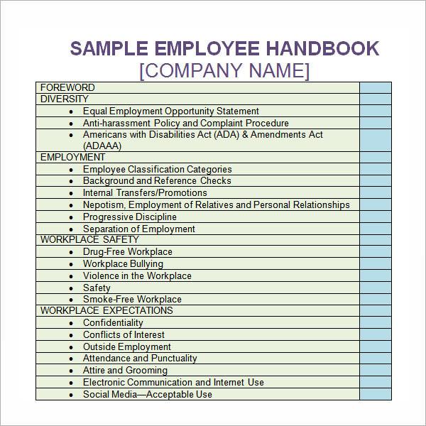 employee handbook template employee handbook template 6 free pdf