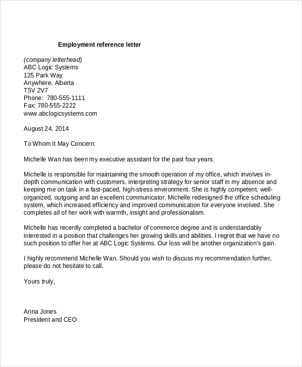10+ Employment Reference Letter Templates Free Sample, Example
