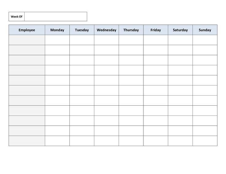 Weekly Timetable. Free Printable Work Schedules Weekly Employee