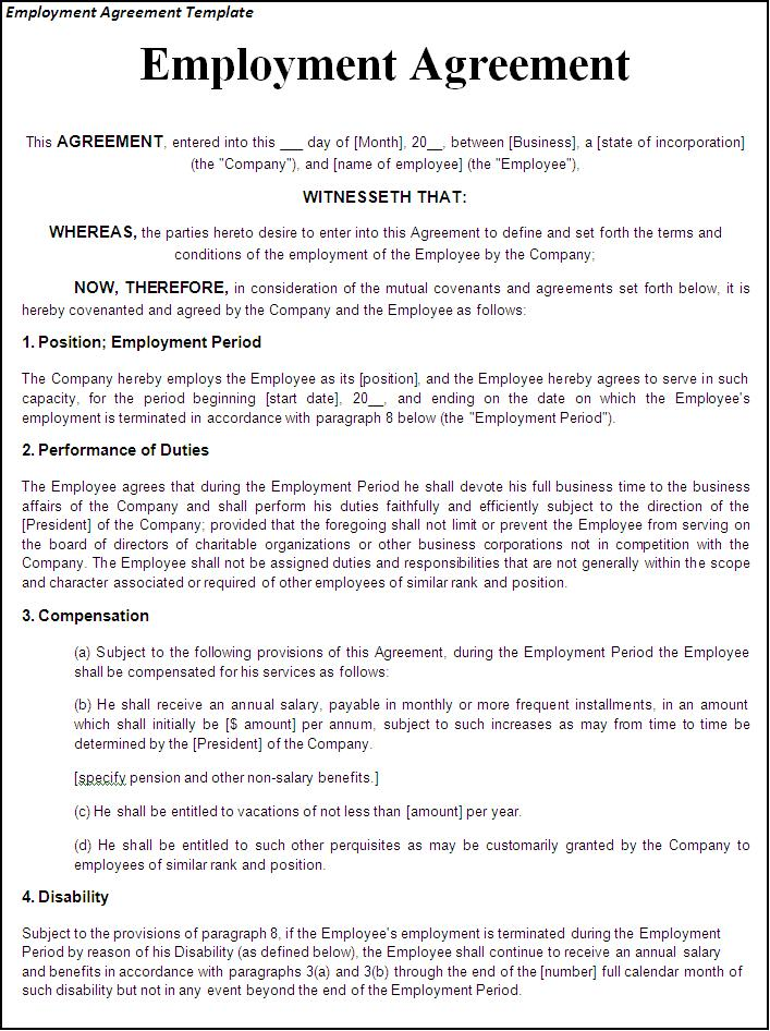 contract employee agreement template employment contract template