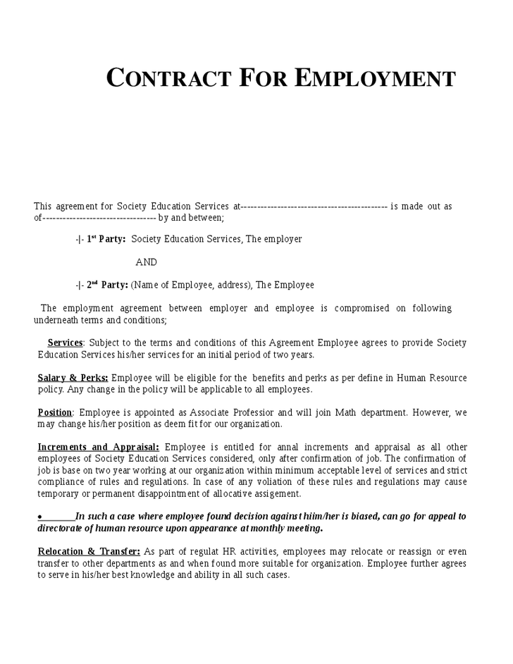 free employment agreement template restaurant employee contract