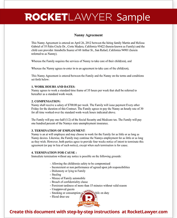 Nanny Contract Template Free Nanny Employment Agreement (with