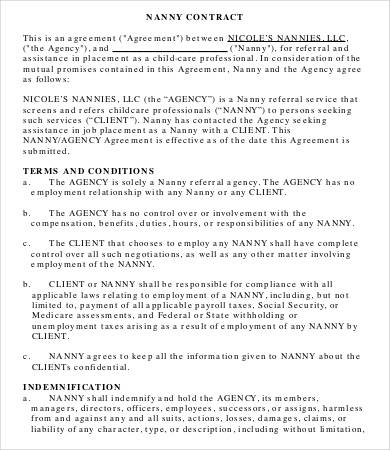10+ Sample Nanny Contract Templates Free Sample, Example, Format
