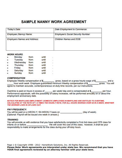 Nanny Contract Template: Free Download, Create, Edit, Fill and Print