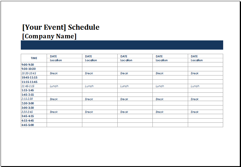 MS Excel Five Day Event Schedule Template | Excel Templates