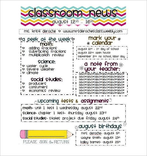 WordDraw. Free Classroom Newsletter Template