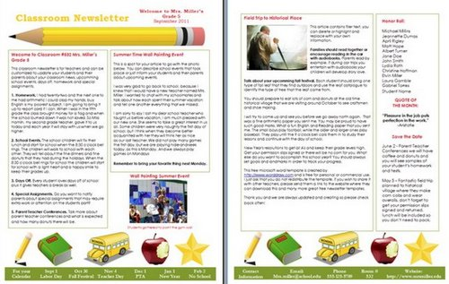 teacher newsletter templates 15 free microsoft word newsletter