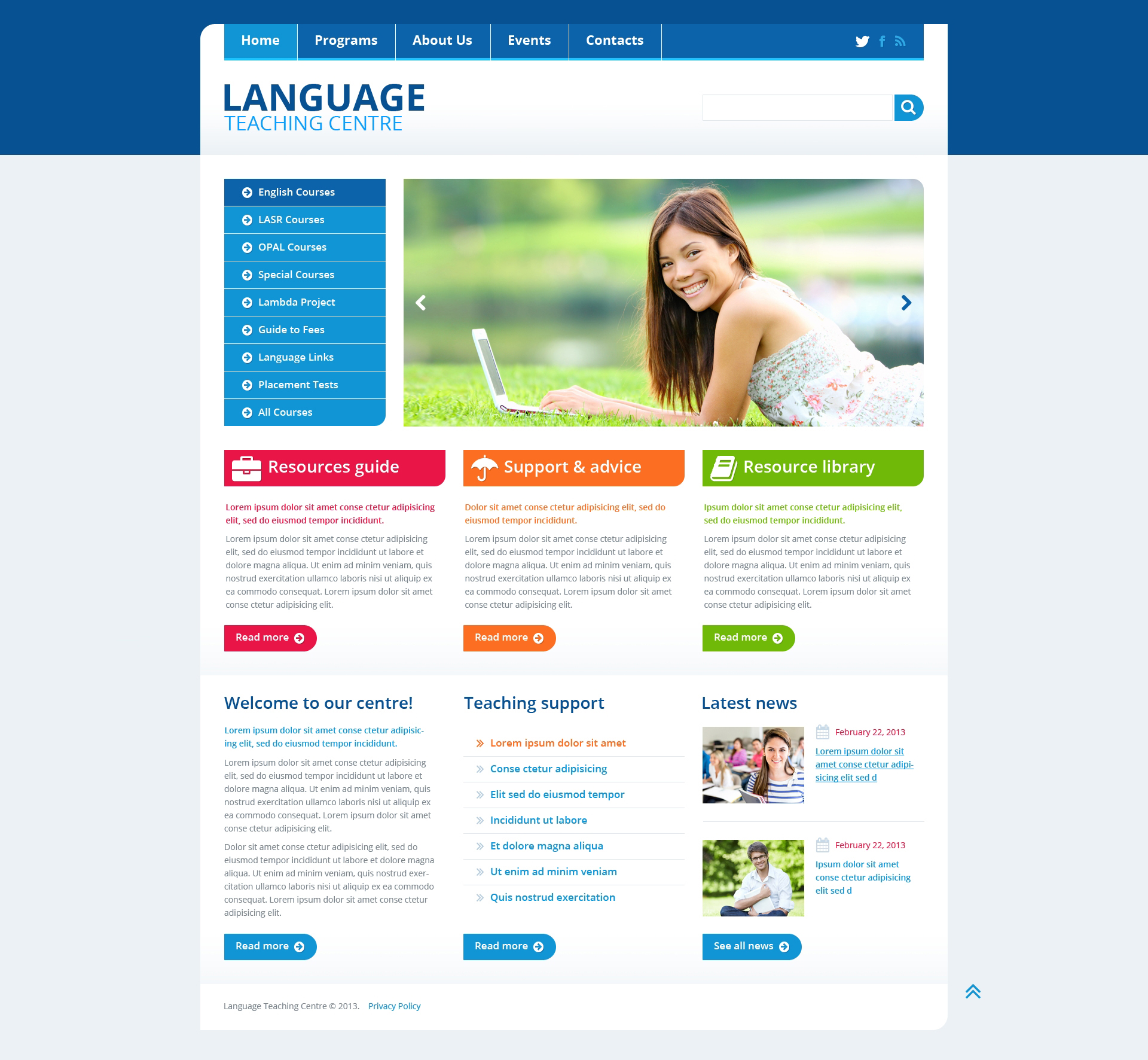 Language School Responsive Website Template #45435