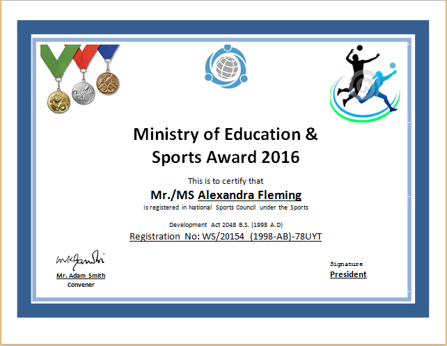 sport certificate template sports certificate templates for word