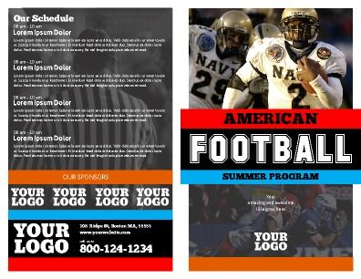 Front and back, half fold Sports Program Brochure. Customize to