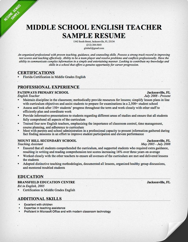 Teacher Resume Samples & Writing Guide | Resume Genius