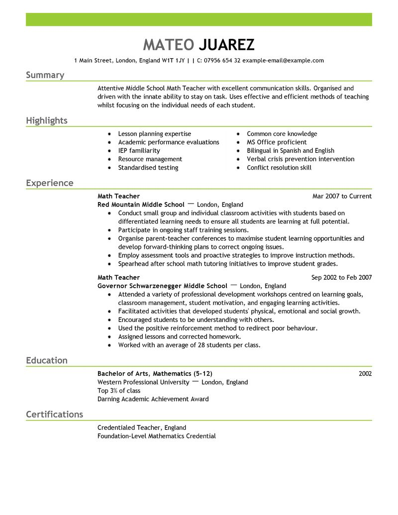 teachers resume model Londa.britishcollege.co