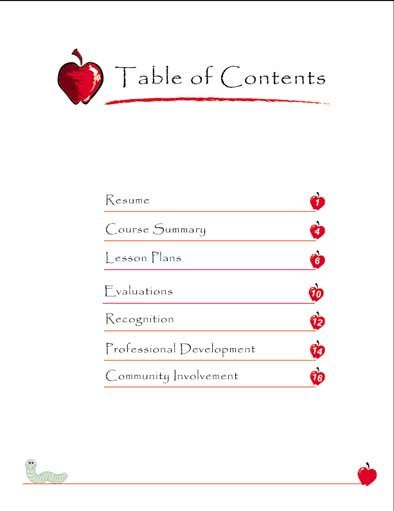 Teaching portfolio table of contents | For the Classroom