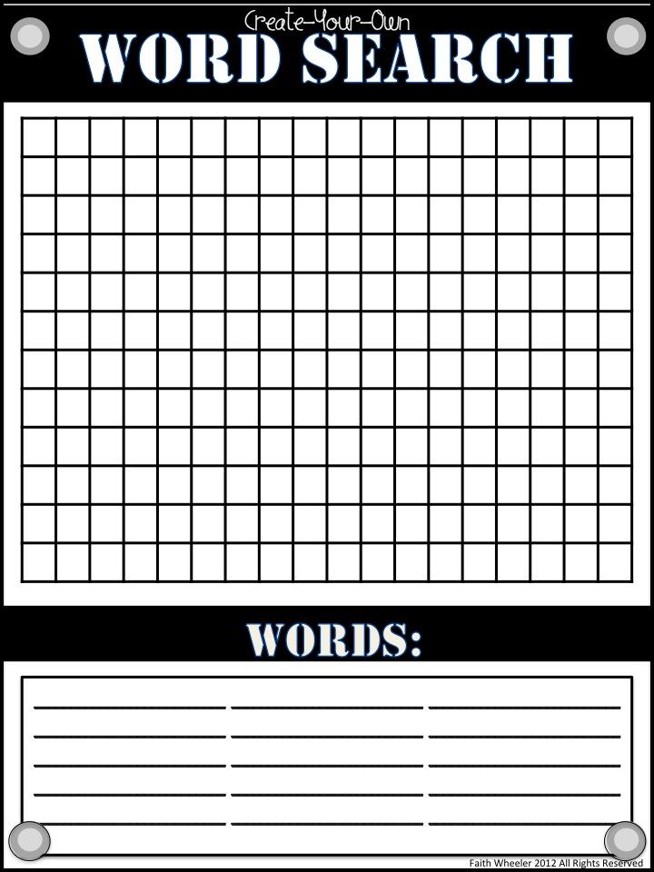 Blank Wordsearch Grids | Teaching Ideas | Pinterest | Word search