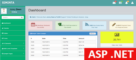 Free ASP .Admin Template SIMINTA mini