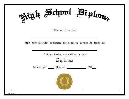 Free Printable High School Diploma Template. Huge Collection of