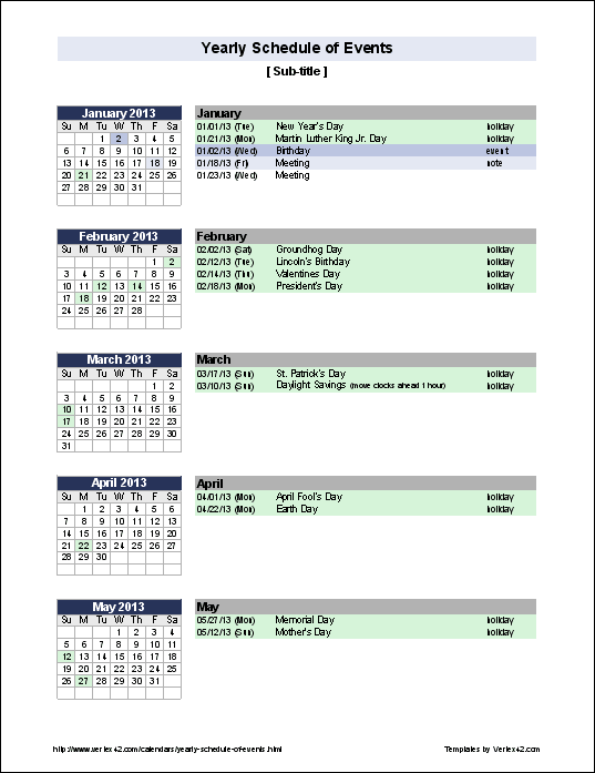 Free Yearly Schedule of Events Template