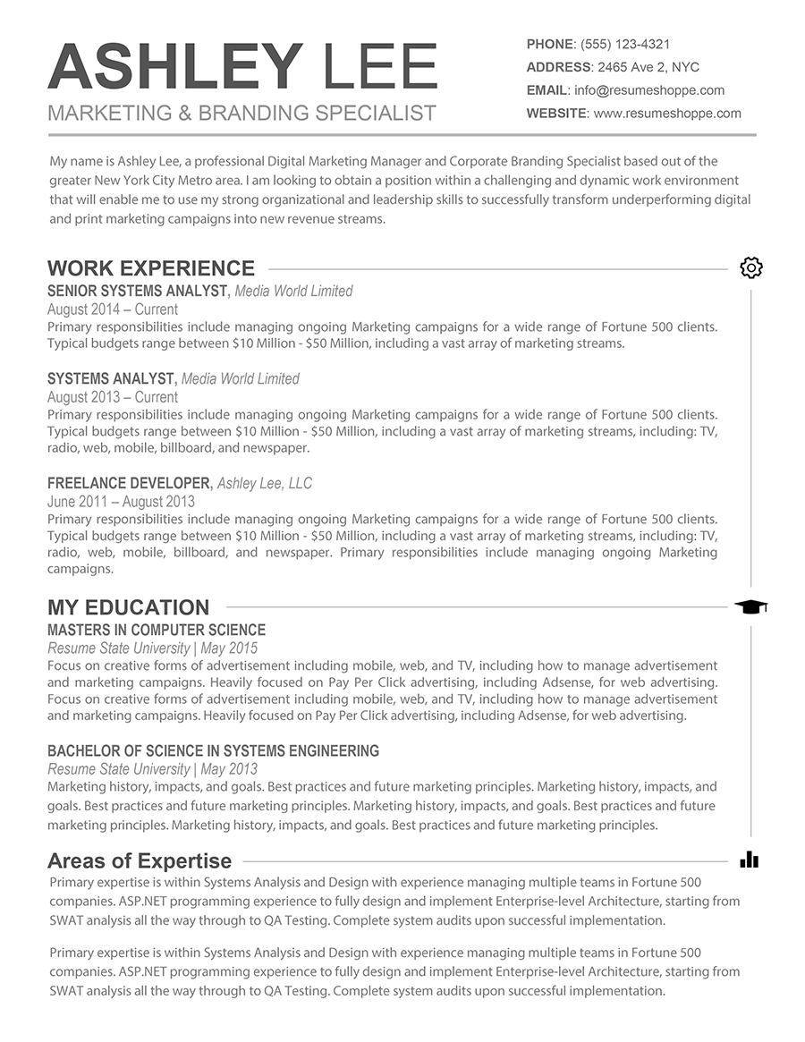 The Ashley Resume Creative Resume for Mac and Word | Microsoft