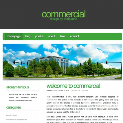 Commercial Free website templates in css, html, js format for free