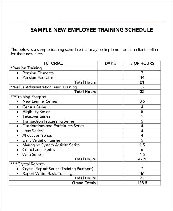 Employee Training Schedule Template Free