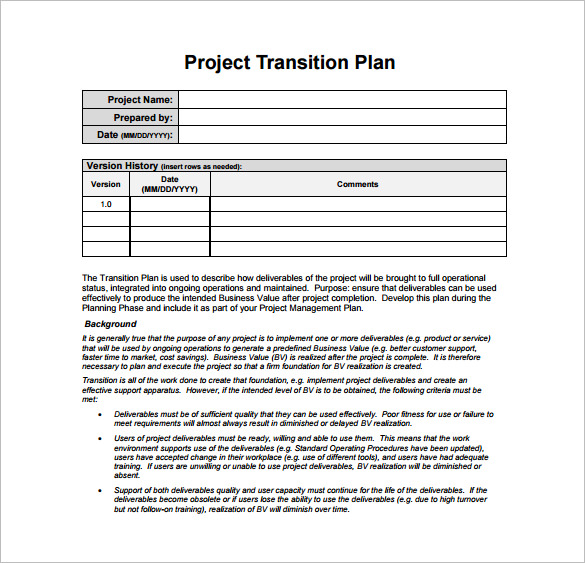 Transition Plan Template 11+ Free Word, Excel, PDF Documents