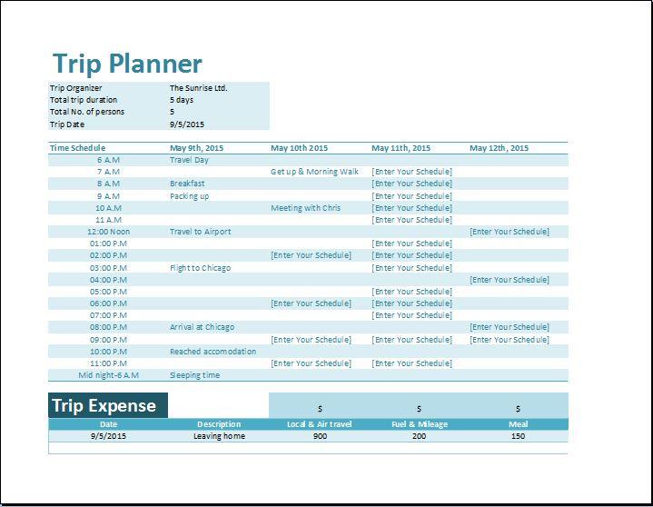 Trip schedule planner template