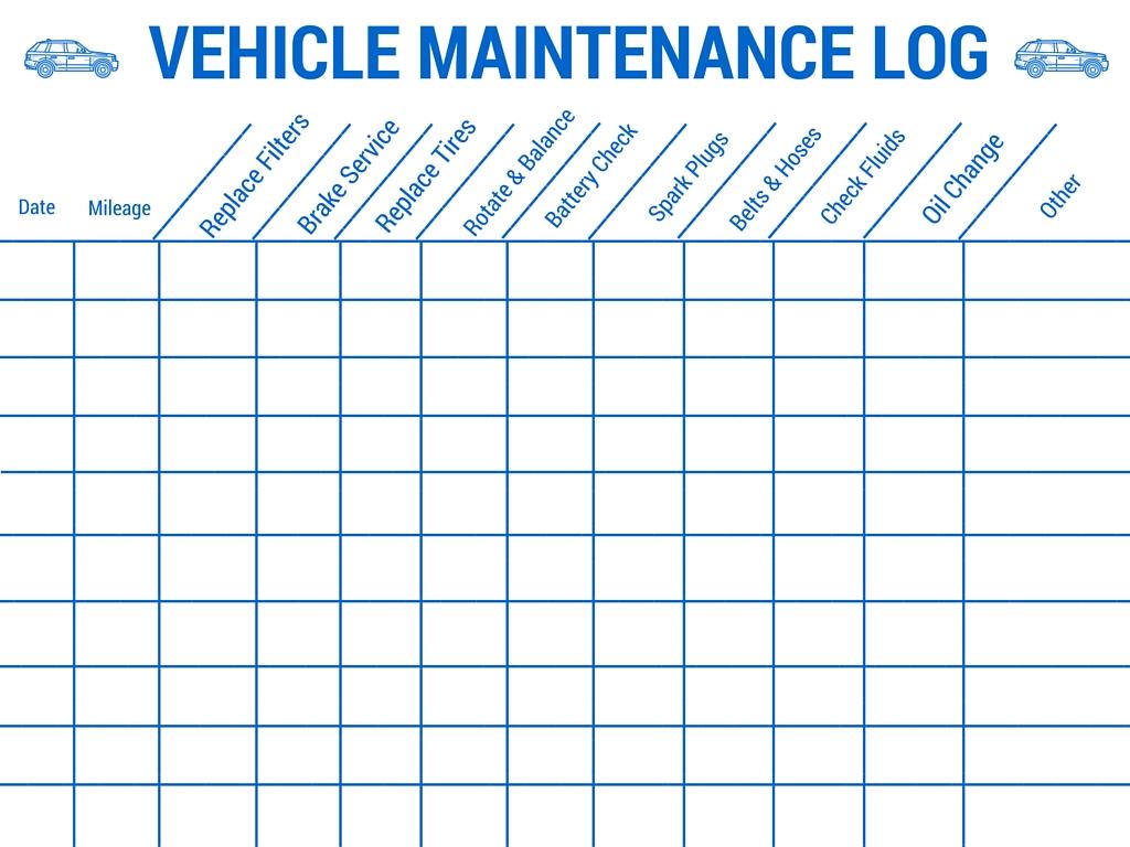 vehicle maintenance schedule template | Papillon northwan