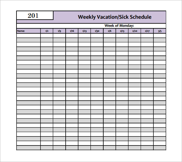 Vacation Schedule Templates 10+ Free Word, Excel, PDF Format