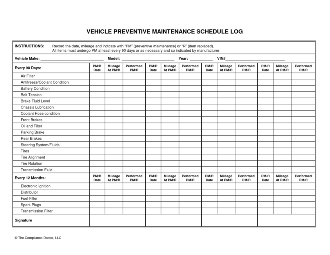 Wonderful Vehicle Preventive Maintenance Schedule Log Template
