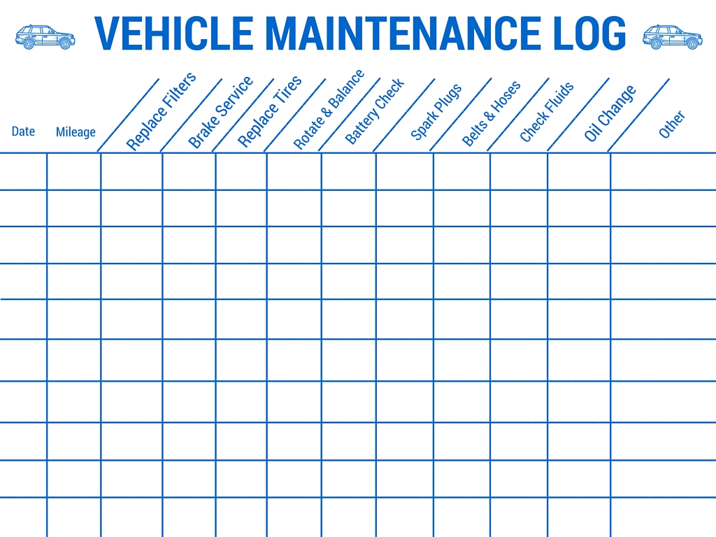 vehicle maintenance schedule template | Papillon northwan