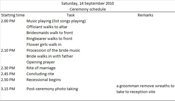 Wedding Itinerary Template 44+ Free Word, PDF Documents Download