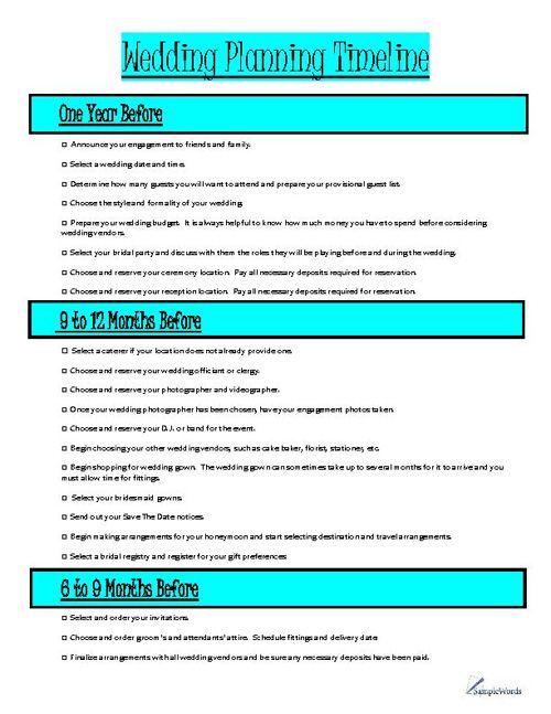 Wedding Planning Timeline Organizer | Wedding planning timeline