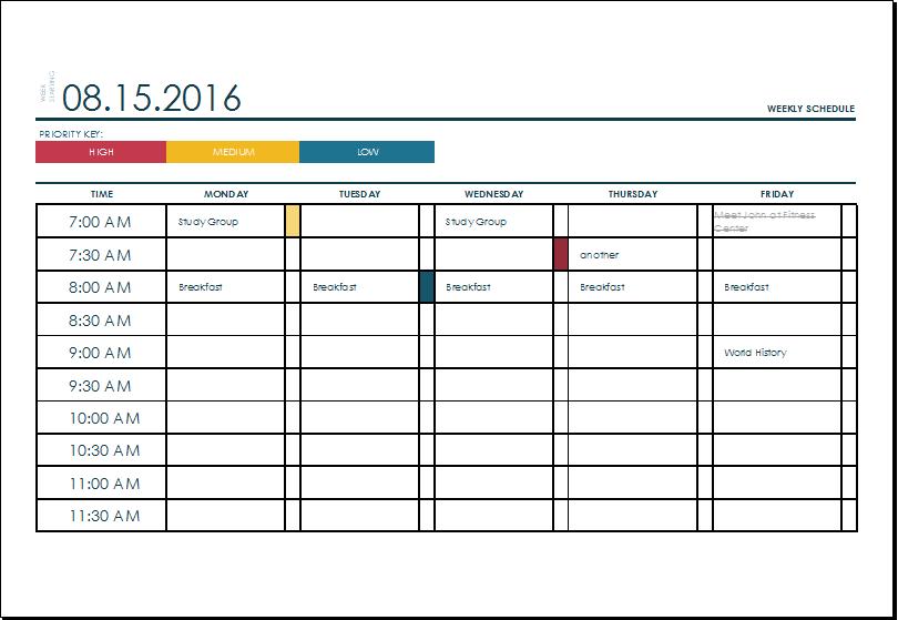 week schedule template excel  u2013 printable schedule template