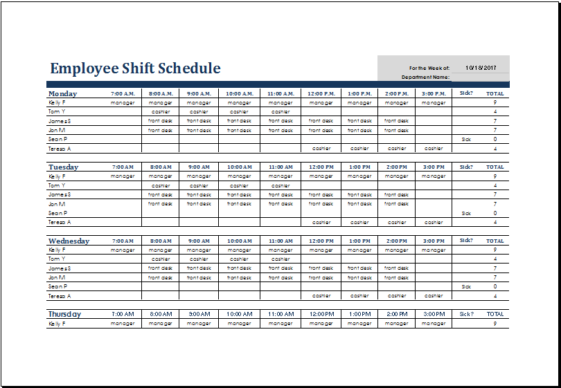 Weekly employee shift schedule Office Templates